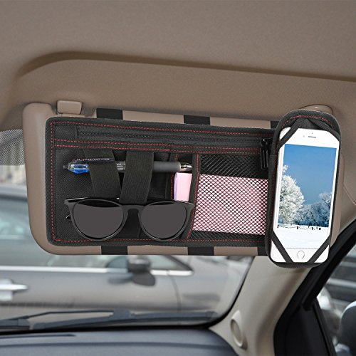 [Universal] GPCT Car SUV Space Sun Visor Storage Organizer Pouch Bag Holder W/ Phone Holder. 2 Pockets, Large Zippered Compartment- Documents/Bills/Tickets/Coupons/Sunglasses/Pens - Minimalist - Coupons Sunglass