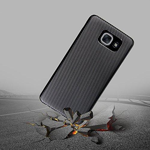 YHUISEN Galaxy J7 Max caso, caucho delgado de fibra de carbono suave TPU híbrido caso de la caja a prueba de golpes para Samsung Galaxy J7 Max ( Color : Rose Gold ) Rose Gold