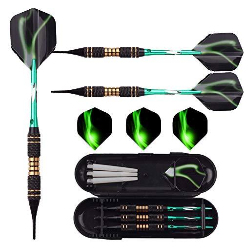 Soft tip Darts Set 18 Gram - Professional Darts Plastic Tip with Brass Barrel + Green Aluminum Shafts + 6 Pattern Flights for Electronic Dartboard