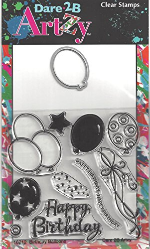 (Dare 2B Artzy Birthday Balloons Clear Cling Rubber Stamps with Steel Die)