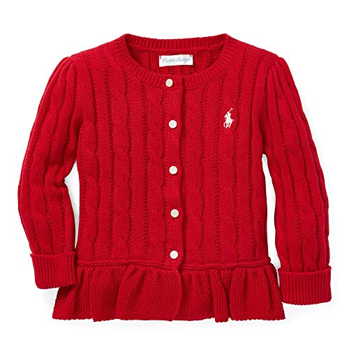 (Ralph Lauren Baby Baby Girl's Cable Cotton Peplum Cardigan (Infant) Park Avenue Red 12 mos)