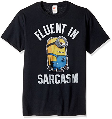 Despicable Me Men's Minions Stuart Fluent in Sarcasm Funny Graphic Tee, Black, 3X-Large]()