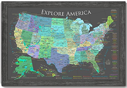 National Parks Push Pin Map - Explore America Map - Slate Ed