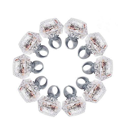 ROUNDSQUARE Bachelorette Party Light Up Rings Engagement Diamond Rings - 10 Packs]()