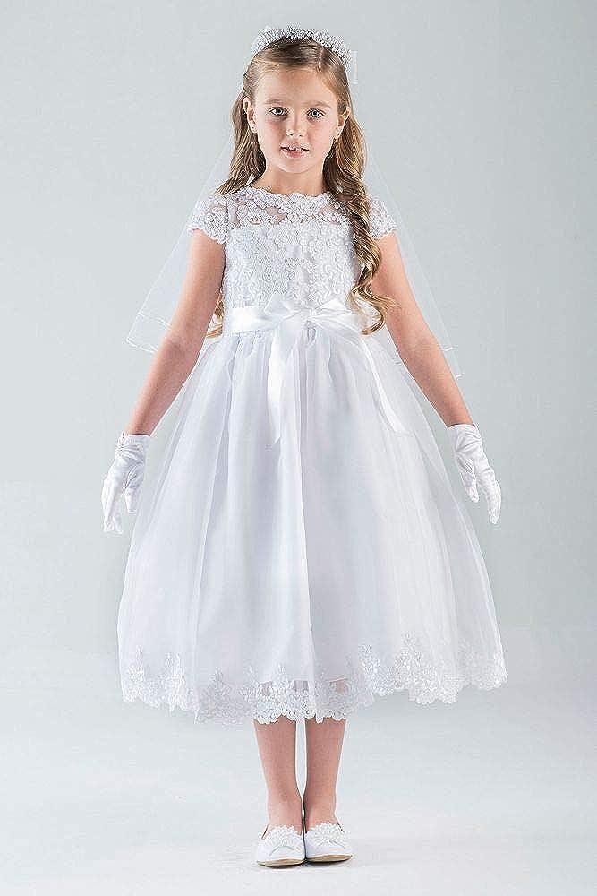 e8c6073f8 Amazon.com: Lace Cap Sleeve Illusion Communion Flower Girl/Communion Dress  with Bow Style C5-352, White, 8: Clothing