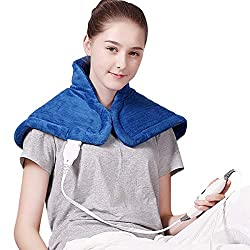 """Tech Love Electric Heating Pad Therapy Heat Pad for Neck and Shoulder Pain Relief with Fast Heating, Dry/Moisture Heated Technology 14"""" x 22"""""""