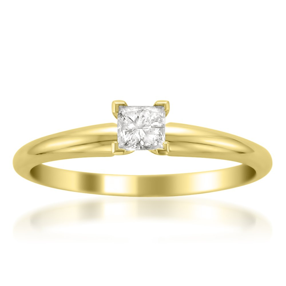 14k Yellow Gold Princess-cut Solitaire Diamond Engagement Wedding Ring (1/4 cttw, I-J, I2), Size 6