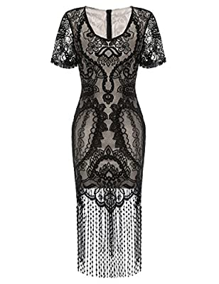 Sholdnut Women's 1920s Vintage Lace Patchwork Fringe Cocktail Flapper Dress With Sleeves