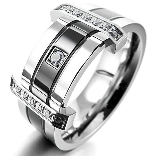 Sims Diamond Costume (Epinki,Fashion Jewelry Men's Stainless Steel Ringss Band CZ Silver Black Wedding Charm Elegant Size)