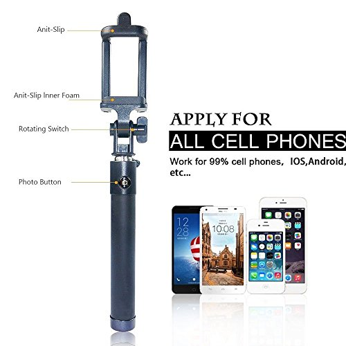selfie stick bogzon battery free wired selfie stick for iphone se 6s 6s pl. Black Bedroom Furniture Sets. Home Design Ideas