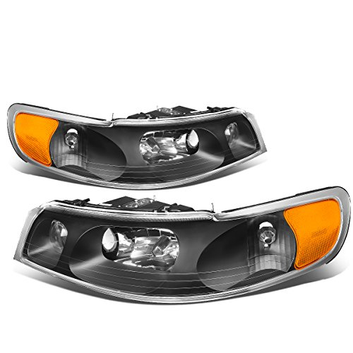 (For Lincoln Town Car Black Housing Amber Corner Front Bumper Driving Headlights/Lamps)