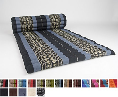 Leewadee Roll Up Thai Mattress, 79x30x2 inches, Kapok Fabric, Blue, Premium Double Stitched by Leewadee