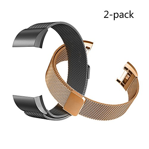 Fitbit Charge 2 Bands (2-Pack), Tecson Stainless Steel Milanese Loop Replacement Bracelet Strap with Unique Magnet Lock for Fitbit Charge 2,(Rose Gold & - Black Gold Ii