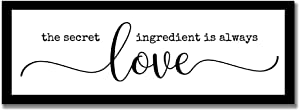 rfy9u7 The Secret Ingredient is Always Love Wood Framed Wall Hanging Sign Farmhouse Wooden Home Decor Signs with Inspired Sayings Housewarming Gift 6x20 Inch