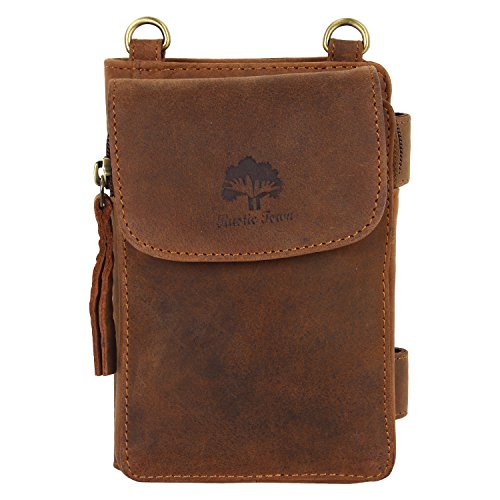 Handmade RFID Blocking Genuine Leather Bifold Zippered Crossbody Wallet Pouch ~ Designer Engraved Fashion with Card Pockets for Billfolds Cash By Rust…