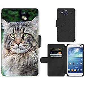 Hot Style Cell Phone Card Slot PU Leather Wallet Case // M00115519 Main Coon Cat Large Animal Cat Face // Samsung Galaxy S3 S III SIII i9300