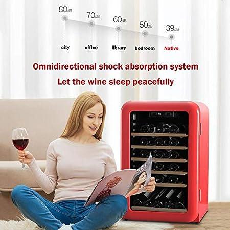 LYYAN Vinoteca Nevera,refrigerador De Cocina, Mini Refrigerador De Vino Compacto Independiente con Una Capacidad De 49 Botellas