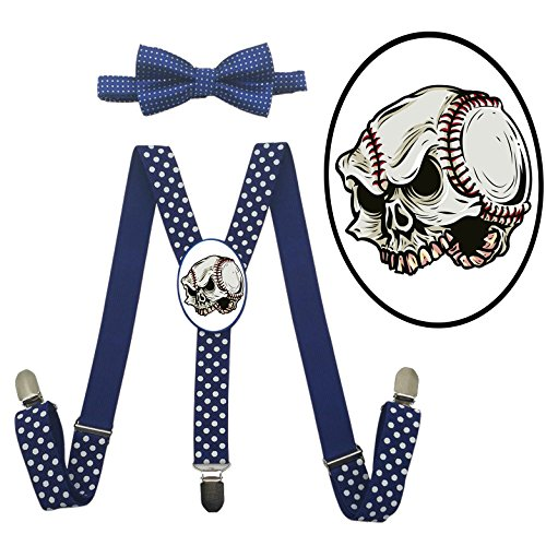 QZ-Lee Baseball Skull Suspender+Bow Tie/Unisex Suspender/Adjustable Suspender/Y-Back Suspender - Pants No With Baseball Elastic