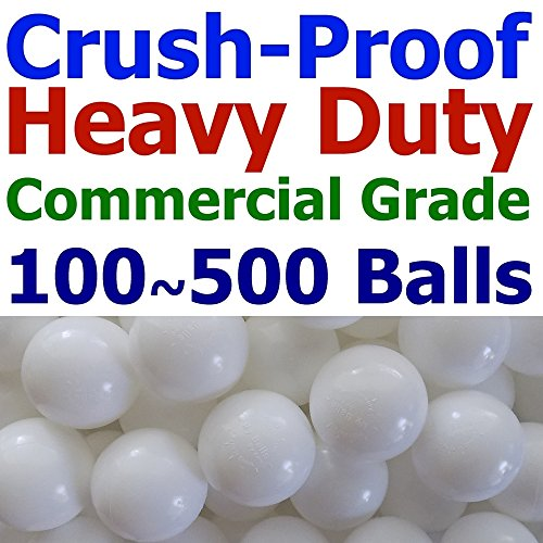 My Balls Pack of 100 Commercial Grade Snow-White Color Jumbo 3' Crush-Proof Ball Pit Balls - Phthalate Free, BPA Free, PVC Free, in Single Color (Snow White, 100)