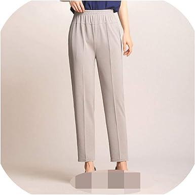 Amazon Com Pantalones Sueltos Para Mujer De 9 Pantalones De Seccion Delgada De Cintura Alta Elasticos Medianos Y Viejos Pantalones De Mujer Clothing