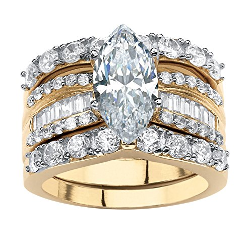 18K Yellow Gold over Sterling Silver Marquise Shaped Cubic Zirconia Multi Row Bridal Ring Set Size 9 ()