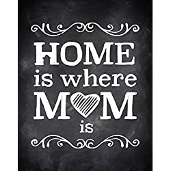 "Home Is Where Mom Is, Mom's Decor, 11x14"" Wall Print, Mother's Wall Art, Mother's Day Print, Nursery Decor, Gift For Mom"