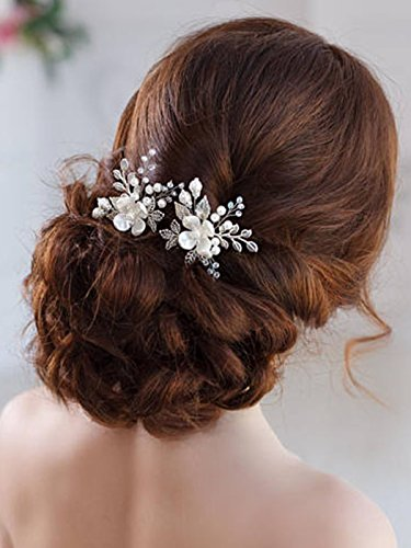 Barogirl Wedding Hair Pins Silver Floral Hair Pin Clip Leaf Wedding Hair Accessories for Brides and Bridesmaids (Set of 2) by Barogirl