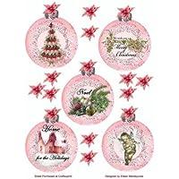 Adorno de bola de Navidad victoriana rosa