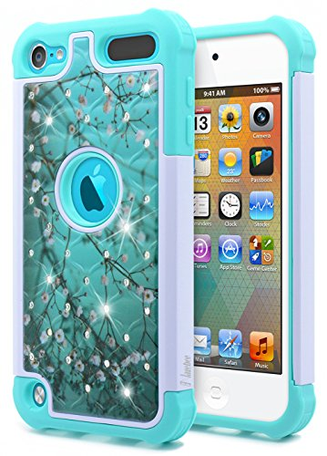 (iPod Touch 7th/6th /5th Generation Case, iPod Touch 7/6/5 Case for Women Girls Kids, NageBee Glitter Diamond Hybrid Protective Studded Rhinestone Armor Cover Sparkle Cute Shockproof Case -Plum)