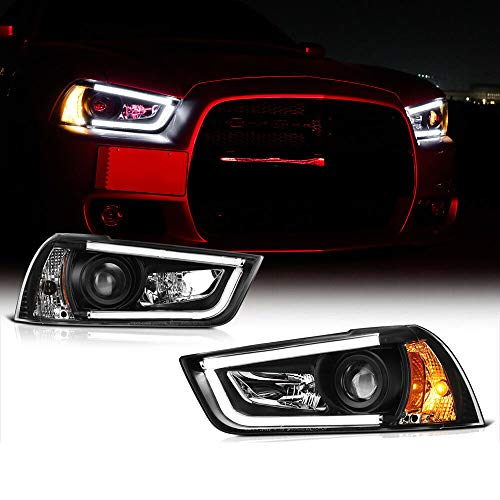 2012 Dodge Neon Sxt - Neon Tron Tube Projector Headlight Lamps for 2011-2014 Dodge Charger R/T | SXT | SE | SRT-8 | SRT-8 392 | Daytona