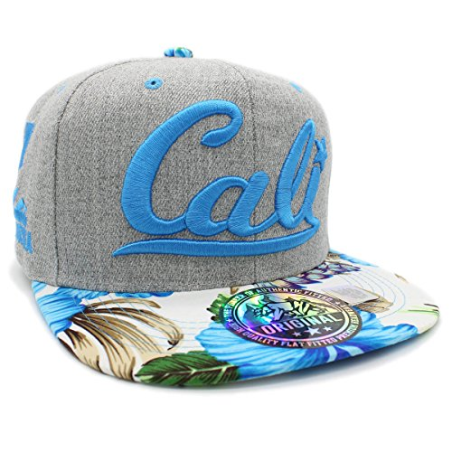 LAFSQ Embroidered Cali With California Map Snapback Cap (Blue Flower Curved)