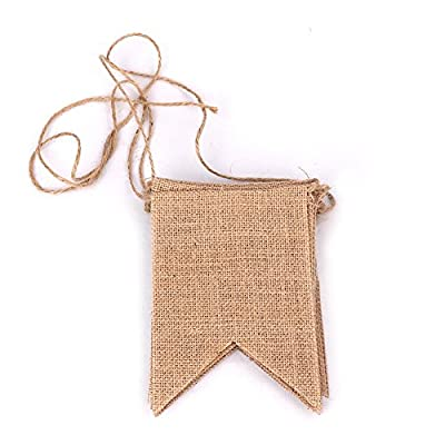 Biowow Creative Triangle Flag DIY Burlap Bunting Banner for Wedding Party by Art Offer Best