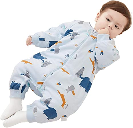 Pijama recién nacido saco de dormir para bebés 6-18 meses piernas de algodón orgánico pierna manga larga piel desmontable transpirable mecha antichoque niños unisex: Amazon.es: Bebé