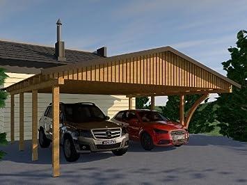 toit en pente carport monza viii 600 x 600 cm avec leimholzbogen de 1