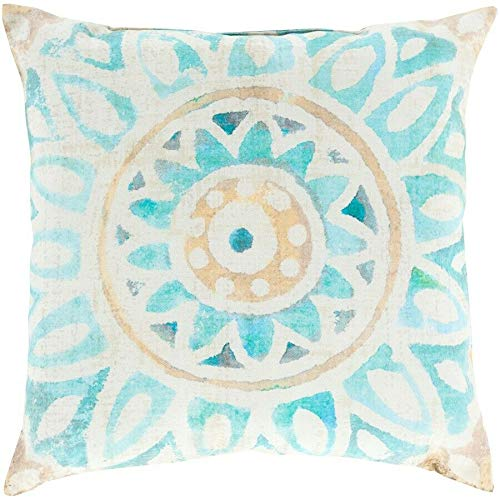 JumpingLight Rain Poly Fill Pillow, Mint/Sky Blue/Camel, 26'' x 26'' - RG134-2626 Hypoallergenic, Deluxe Quality
