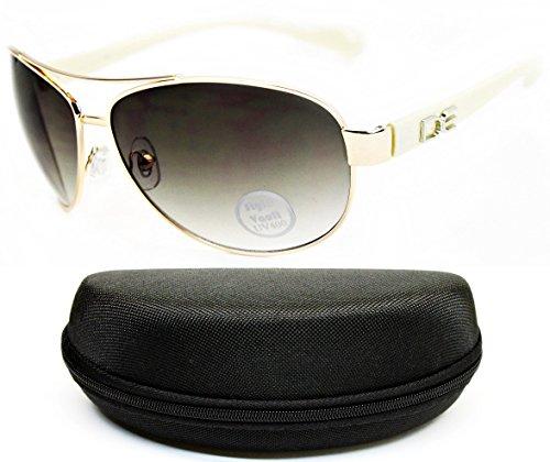 D990-CC Designer Eyewear Metal Aviator Sunglasses (O2585B Gold/Beige-Smoked, - Sunglasses Woman Old With