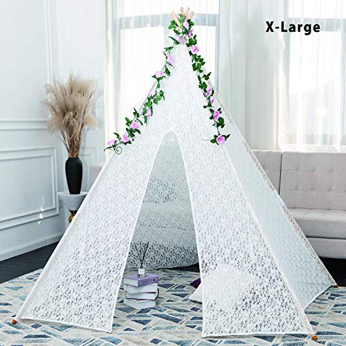 LYN Luxury Lace Tent for Wedding, Photo Prop, Grad Party,Girl's Gift, Rose lace Tent Kids Play Tent for Indoor & Outdoor ()