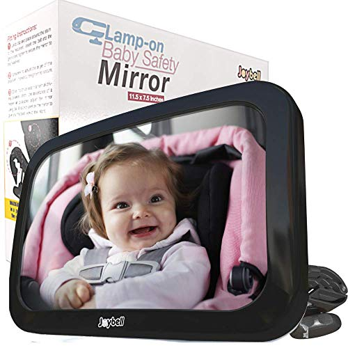 Joybell Clamp-On Baby Car Mirror for Adjustable Headrests, Attaches to Solid Post Not Soft Cushion | Crash Safety Tested | Shatterproof | Extra Large | Only for Adjustable Headrests