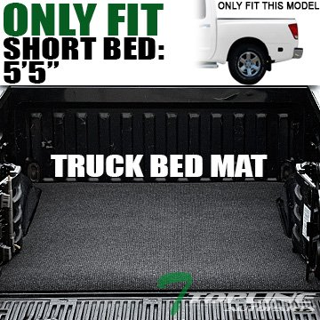 Topline Autopart Black Polyester Truck Bed Cargo Box Floor Mat Carpet For 04-17 Nissan Titan Crew Cab 5.7 Ft 68.4