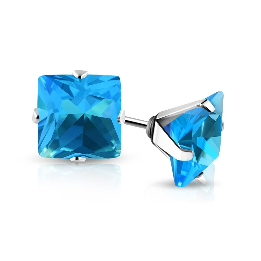 pair Stainless Steel Prong-Set Square Stud Earrings with Sky Blue// Aquamarine CZ