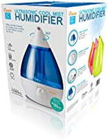 Crane USA Humidifiers Blue and White Drop Ultrasonic Cool Mist Humidifier 1 Gallon Adjustable Mist Output, Automatic Shut Off, Whisper Quiet