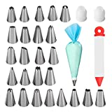 Olmeficce 30 in 1 Cake Decorating Supplies Kit Tips Professional Stainless Steel Icing Tip Set Tools with 2 Reusable Couplers 1 Silicone Pastry Bag 1 Decorating Pen for Cakes Cupcakes Cookies Pastry
