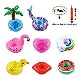 Karoo Inflatable Drink Holders,8 Pack Mini Pump Pool Party Water Fun,Rainbow Cloud,Flamingo,Pink Heart,Coconut Tree,Duck,Mermaid,Watermelon Red Lips,Floating Coasters Party Cup Holders