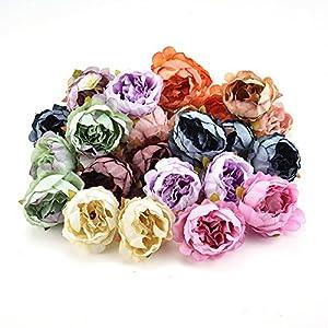 fake flowers heads Bulk Peony Head Silk Artificial Flower Wedding Home Decor DIY Wreath Scrapbook Gift Box Flower 15pcs/lot 5cm (Multicolor) 10