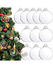 24 Pieces Christmas Round Acrylic Sheet Christmas Acrylic Circle Blanks Clear Round Acrylic Blanks Transparent Acrylic Round Disc Sublimation Christmas Hanging Ornament for Christmas Tree DIY Craft