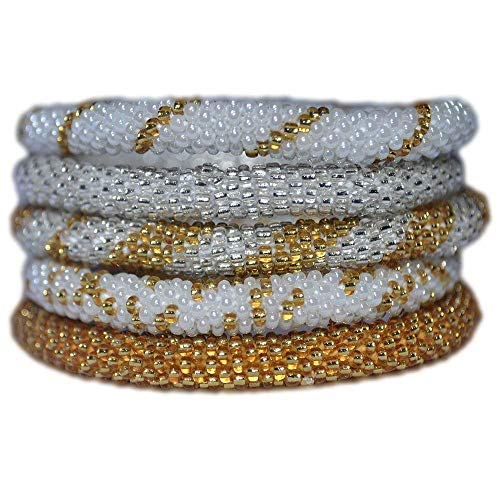 Silver, Gold and White Handmade Bracelets Set, Seed Beads, Nepal,BS1