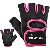 Proworks Women's Padded Grip Fingerless Gym Gloves for Weight Lifting, Cross Training, Exercise Bikes & More - Black with Pink Trim (Medium)