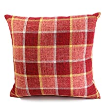 """YJ Bear Linnet Grid Stripe Print European Square Cushion Soft Throw Pillow with Insert Home Decorative Cushion with Filler for Sofa/Chair/Couch Red 18"""" X 18"""""""