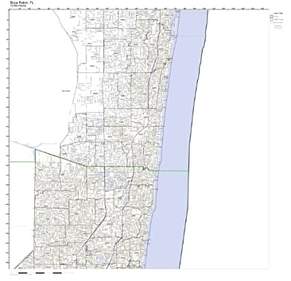 Amazon Com Boca Raton Fl Zip Code Map Laminated Home Kitchen