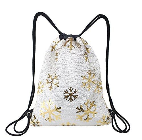 Neasyth Mermaid Sequins Drawstring Backpack, Reversible Magic Glittering Dance Drawstring Bag Yoga Outdoors Sports Kids Girls Women (Small ()